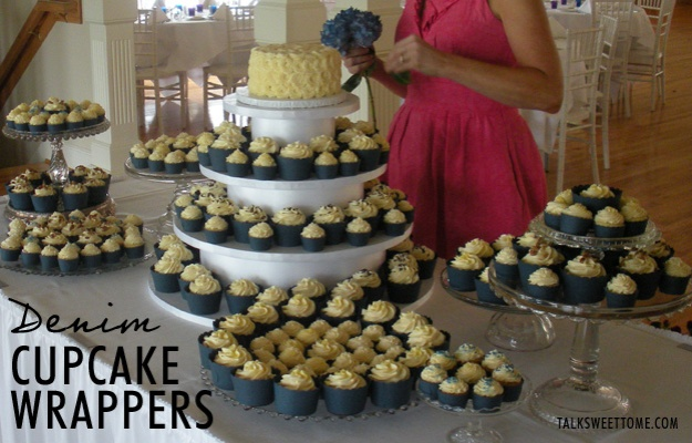 Denim wrappers cupcake display - Talk Sweet to Me - talksweettome.com