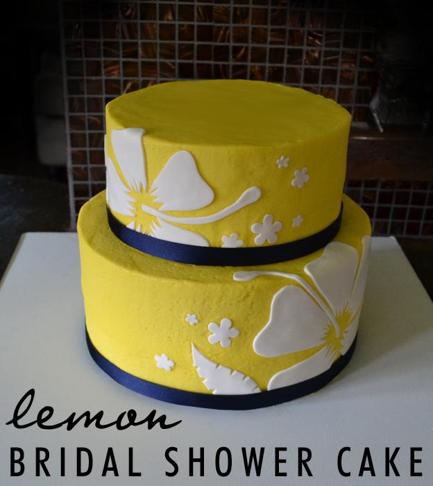 Lemon Yellow Bridal Shower Cake   Talk Sweet To Me!