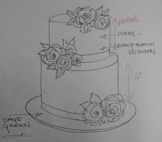 2T Rose cake design drawing - Talk Sweet to Me