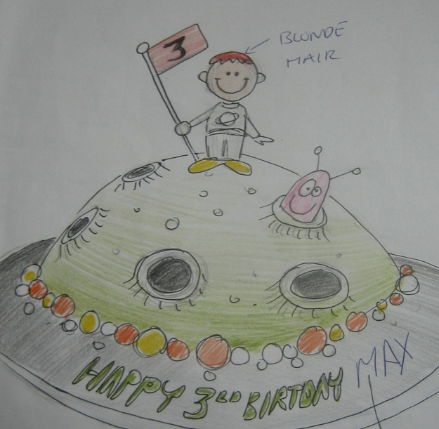 Astronaut cake design drawing - Talk Sweet to Me