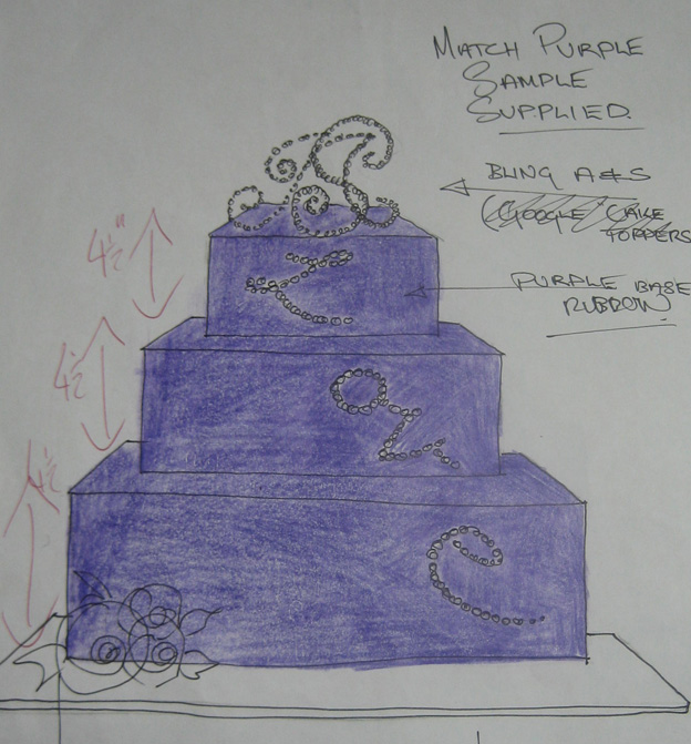 Bling cake design drawing - Talk Sweet to Me