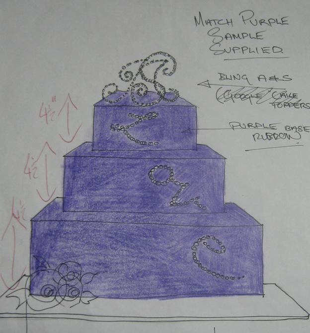 Bling cake design drawing - Talk Sweet to Me