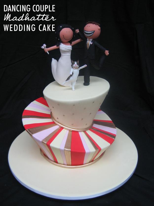 Dancing couple madhatter wedding cake - Talk Sweet to Me