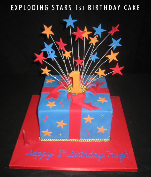 Exploding stars first birthday cake - Talk Sweet to Me