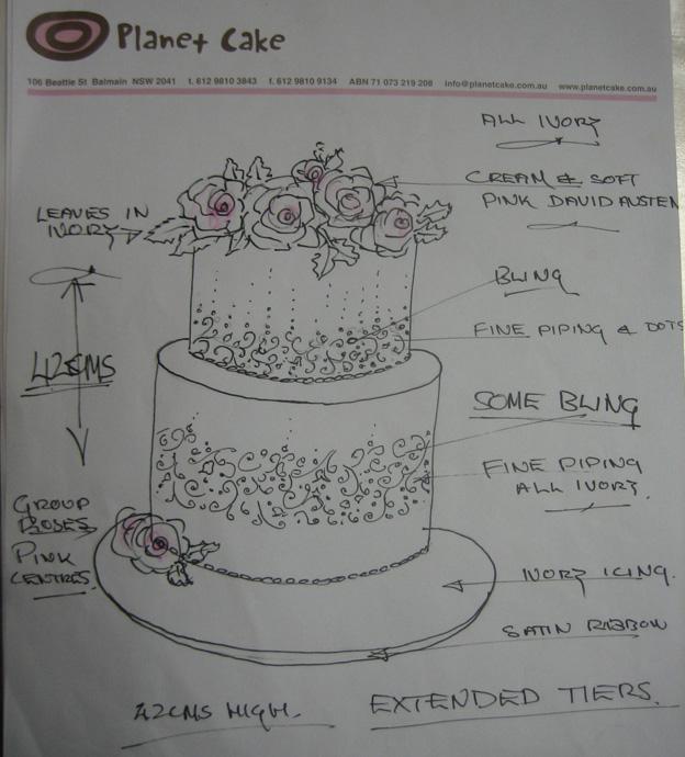 Flower cake design drawing - Talk Sweet to Me