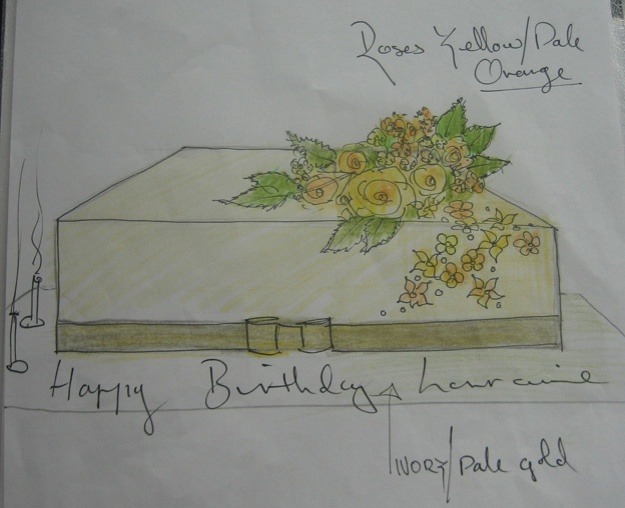 Gold cake design drawing - Talk Sweet to Me