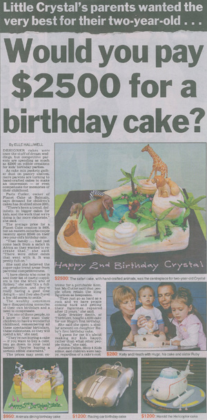 Newspaper article on expensive cakes - Talk Sweet to Me