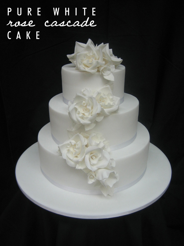 Pure white rose cascade cake - Talk Sweet to Me