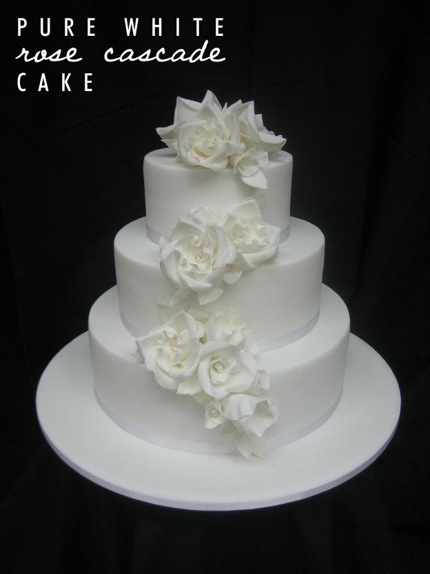 Pure white rose cascade cake - Talk Sweet to Me
