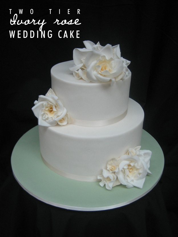Two tier ivory rose wedding cake - Talk Sweet to Me