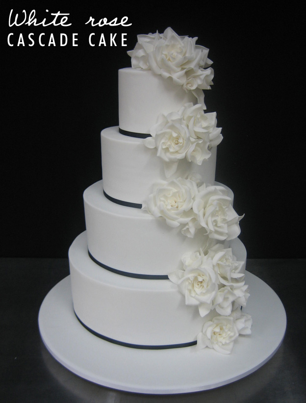 White rose cascade cake - Talk Sweet to Me