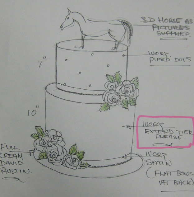 Antony horse cake design drawing