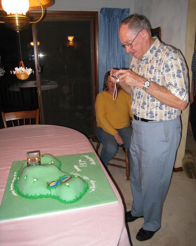 Grandpa likes the cake