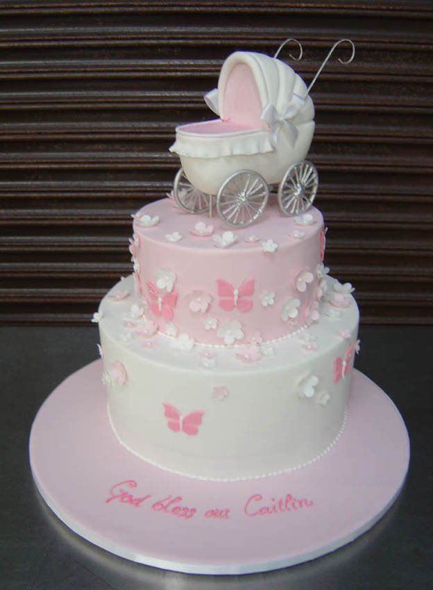 Pram Christening Cake - Talk Sweet to Me