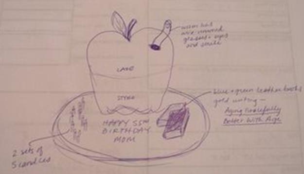 Bookworm cake sketch - Talk Sweet to Me