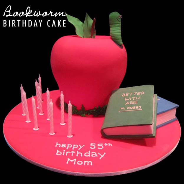 Bookworm Birthday Cake Step By