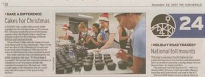 Cupcakes for charity newspaper clipping