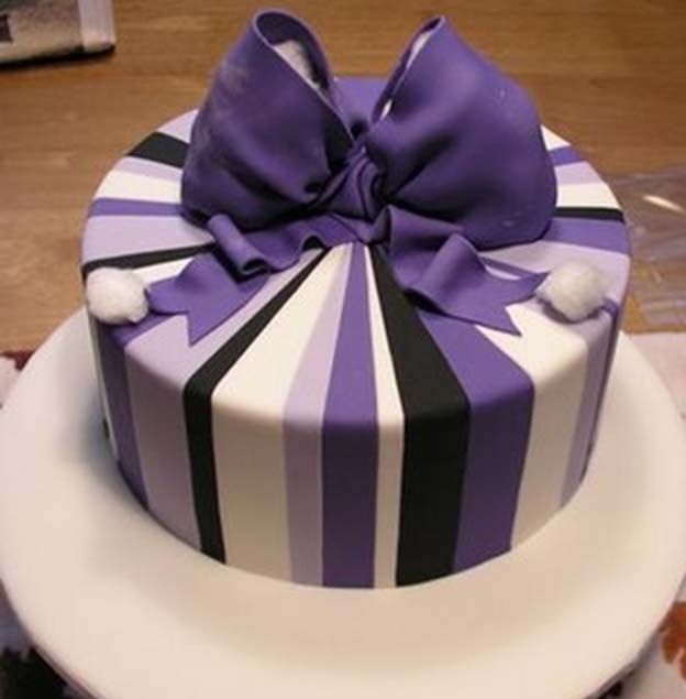 Purple Striped Birthday Cake Talk Sweet To Me