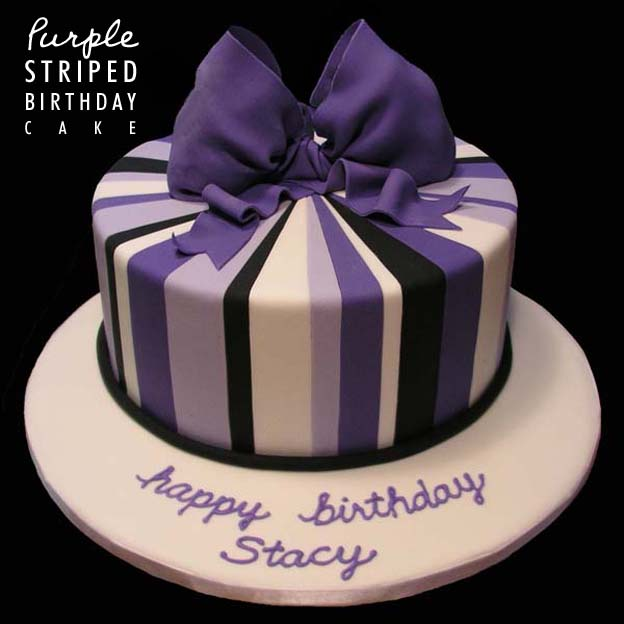 Purple Striped Birthday Cake - Talk Sweet to Me