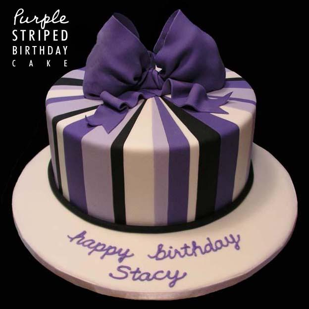 Purple Striped Birthday Cake - Talk Sweet to Me
