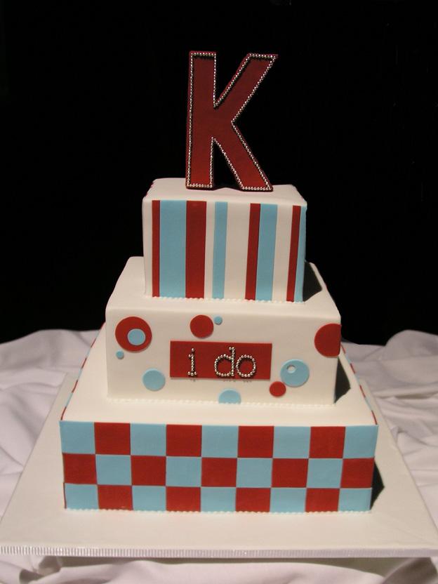 Red and Aqua Wedding Cake - Talk Sweet to Me