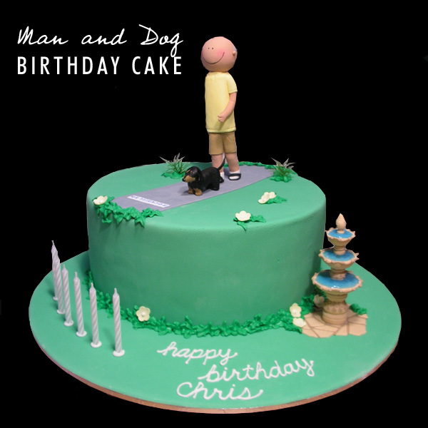 Man and Dog Birthday Cake - Talk Sweet to Me